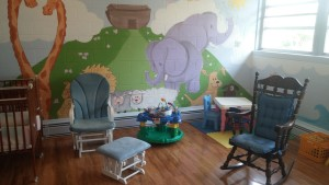 Beautiful hand painted walls of our wonderful nursery.